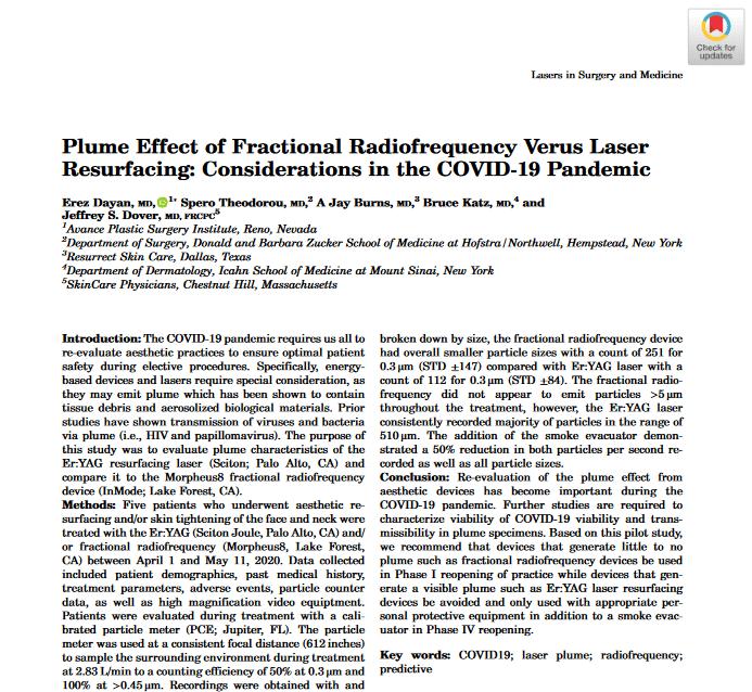 Plume Effect of Fractional Radiofrequency Vs Laser Resurfacing